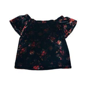 LOFT Floral Velvet Off The Shoulder Blouse Top